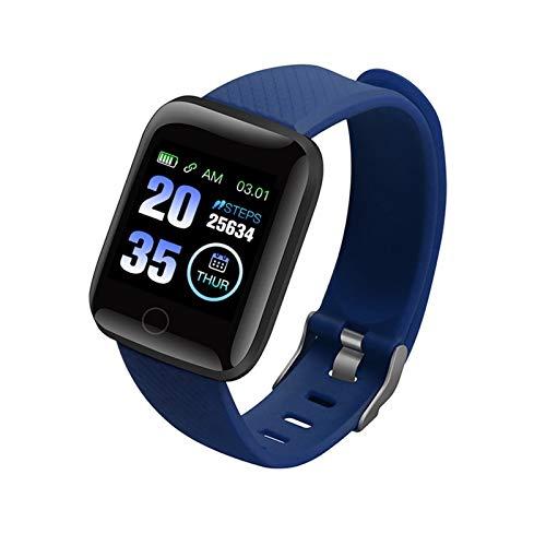 XUEMEI Relojes Inteligentes 116 Plus Ritmo Cardíaco Reloj De Pulsera Inteligente Relojes Deportivos Banda Inteligente a Prueba De Agua SmartWatch Android A2 (Color : Blue)