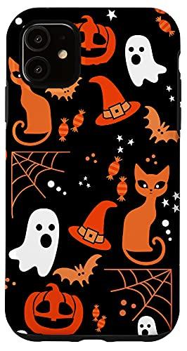 iPhone 11 Halloween Case Pumpkins Ghosts Witch Candy Corn Bats Skulls Case