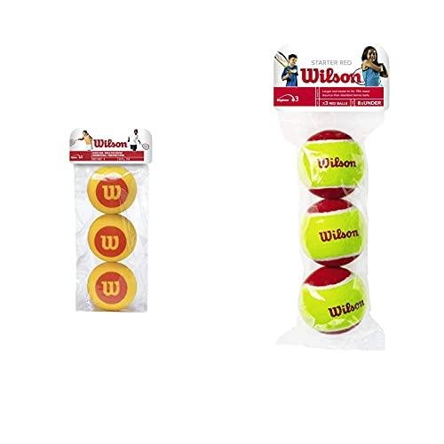 Wilson Tennisbälle Starter Foam, gelb/rot, 3er Pack, WRZ258900 & Tennisbälle Starter Red für Kinder, gelb/rot, 3er Pack, WRT137001