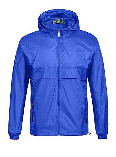 ZITY Regenmantel für Herren, wasserdicht, mit Kapuze, leicht, verstaubar, für Outdoor, Camping, Angeln, Reisen, blau, klein