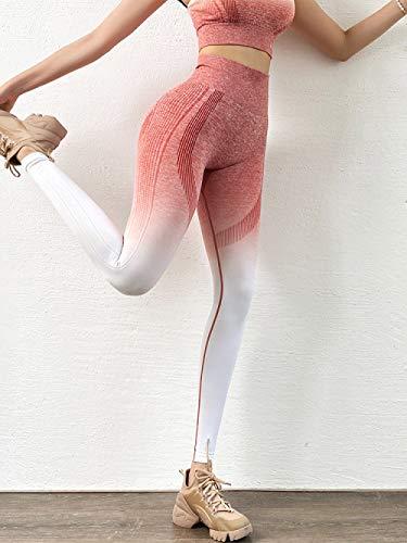 Leggins Deportivos Cintura Alta Mujer,Gradient Pink Fitness Mujeres Medias Cintura Alta Gym Yoga Pantalones Soft Squat Sport Leggings Adecuado Para Correr, Yoga, Fitness, Deportes Al Aire Libre,
