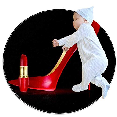 LORVIES grote rode schoen en lippenstift rond gebied tapijt Art Deco anti-slip steun tapijt schuim mat woonkamer slaapkamer studie kinderen speelkamer super zacht tapijt vloer mat 2.3-voeten diameter