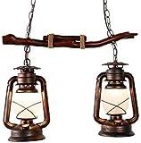Aparatos de iluminación, Lámpara de madera, lámpara colgante de la vendimia lámpara de la isla de la isla de la lámpara industrial con 2 flammig E27 Titular de la lámpara para el comedor Restaurant Ba