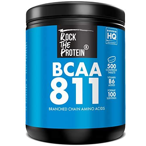 BCAA 811 Aminoacidi Ramificati Rock The Protein®, 500 Compresse da 1000mg con Vitamina B6, bcaa 811 Compresse Intra Pre e Post Workout, Recupero Muscolare