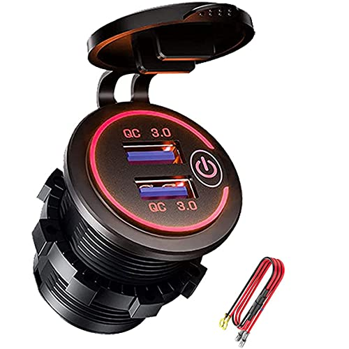 Fransande QC 3.0 - Enchufe USB de 12 V/24 V con interruptor táctil para coche, marina, barco, caravana, moto, rojo