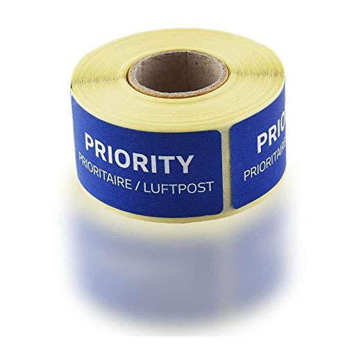 100er Rolle Originale Blaue Luftpost Priority Prioritaire Aufkleber Sticker Post EUR