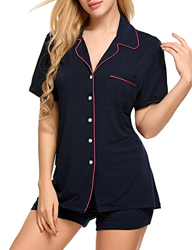 Ekouaer Women's Boxer Shortie Pajama Set Loungewear, Large