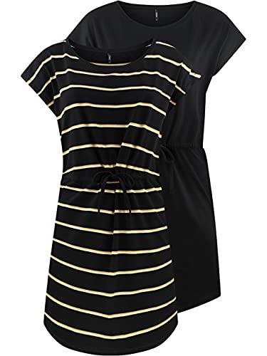 ONLY Damen Sommer Mini Kleid onlMAY S/S Dress 2er Pack Grösse XS S M L XL XXL Gestreift Schwarz 100% Baumwolle, Größe:M, Farbe:Black Double...