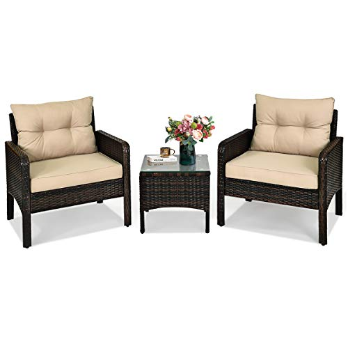 HAPPYGRILL 3-Piece Patio Rattan Furniture Set