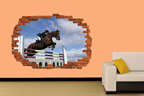 Salto de caballo Deportes ecuestres Etiqueta de la pared Decoración de la habitación Calcomanía Mural Clase A 80x125cm