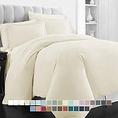 Pizuna 400 Thread Count Cotton King Duvet Set, 100% Long Staple Cotton Cream Bed Sets King, Luxury Soft Sateen California King Duvet Cover with Button Closure (Cream Duvet Cover)