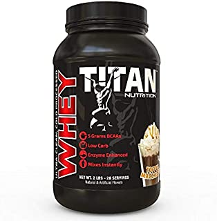 Titan WHEY Premium Whey Protein Powder for Improved Muscle Recovery with 23 Grams of Clean Whey Protein |BCAA and Digestive Enzymes| (Toffee Machiato, 2 lb)