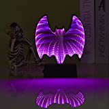GoodLights LED Mirror Tunnel Night Light, 3D Double-Sided Infinity Mirror Lamp Bat Sign Battery Operated, Night Lights for Kids Room, Party, Halloween Decorations (Bat, Purple)