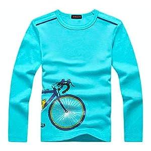 KID1234子供服 tシャツ キッズ ティーシャツ 男の子ロング カットソー ボーイズ カジュアル 自転車柄刺繍可愛い 長袖上着 ジュニア用ベーシックシャツ 男女兼用 通学 部屋着 防寒 ブルー160cm