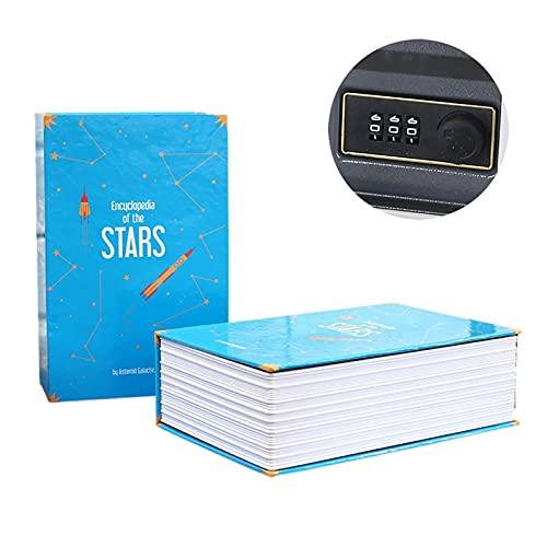 WWWL Hucha Caja de contraseña SIFIDAD SIMULACIÓN Book Mini Inicio Contraseña Código Libro Seguro Ahorro Pot Storage Box Book Box Craft (Color : Blue)