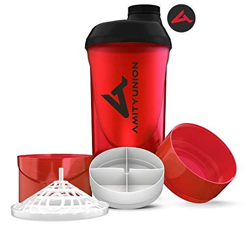 AMITYUNION Protein Shaker Deluxe 700 ml - Eiweiß Shaker auslaufsicher, BPA frei - Sieb & Skala für Cremige Whey Proteinpulver Shakes - Fitness Becher für Isolate & Sport Konzentrate in Rot Schwarz Cup