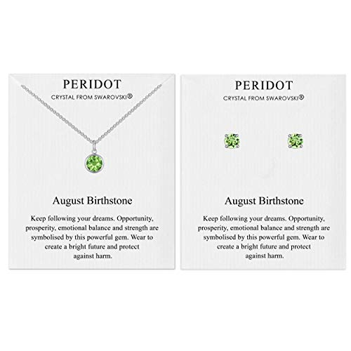 Philip Jones August (Peridot) Birthstone Necklace & Earrings Set Created with Austrian Crystals