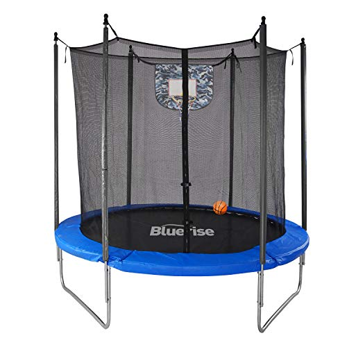 Bluerise 6FT 72'' Kids Trampoline with Enclosure Basketball Hoop Net Easy to Assemble Toddler Trampoline with Safety Spring Cover Pad Small Trampoline
