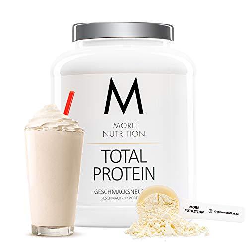 MORE NUTRITION Total Protein – dein premium Whey Protein-Pulver mit dem Plus an Casein & Laktase – hochwertiges Eiweißpulver für deinen Muskelaufbau – 600 g (Geschmacksneutral)