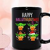 N\A Happy Hallothanksmas Baby Yoda Pumpkin Santa Witch Halloween Acción de Gracias Navidad Vacaciones Taza de cerámica Tazas de café gráficas Tazas Negras Tapas de té Novedad Personalizada 11 oz