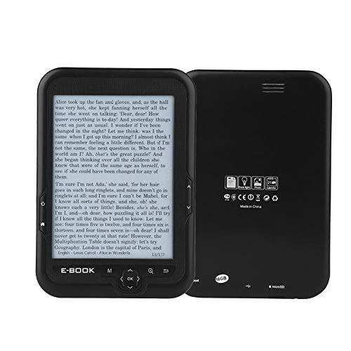 Mugast E-Reader de 6 , HD 300DPI 800x600 E-Ink Ink Screen FM E-Book Reader con Zoom de Fuente Transformación de Fuente Marcador Saltar página Leer en Voz Alta Reloj Diccionario Función(Negro   4G)