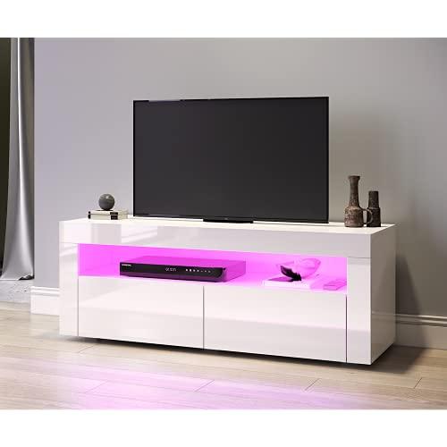 SONNI TV Schrank TV Lowboard LED Weiss,12-LED-Farben,Fehrnser Tisch 120 cm breit