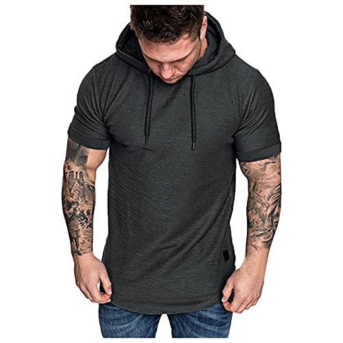 Camiseta de manga corta con capucha para hombre, para verano, deporte y fitness, monocolor, corte ajustado. gris XL