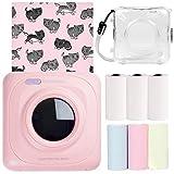 Joyhoop Mini stampante termica Stampante tascabile per etichette wireless Bluetooth ricaricabile portatile con 6 rotoli di carta adesiva Custodia protettiva trasparente rosa