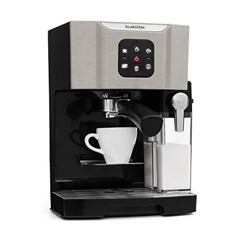 Klarstein BellaVita-espressomachine met melkschuimmondstuk, 3in1-koffiemachine, nieuwe zilveren editie (filterhouder, 20 bar, 1450 watt, 1,4 L) voor cappuccino, espresso, latte machiato, zwartzilver