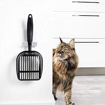 Mr. Ollie Pelle à litière pour Chats antiadhésive en métal avec Support Pelle à litière de Toilettes pour Chats – Grande Litière pour Chats - Bac à litière de Chat pour Toilettes by