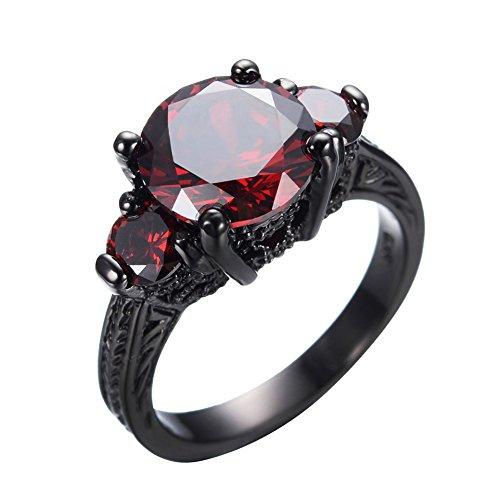 JunXin Black Gold Round Cut Three-Stone Ruby Diamond Ring Cubic Zirconia Size6/7/8/9/10(5)