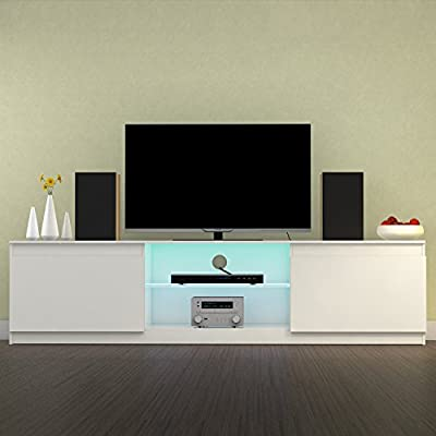 Modern TV Unit 120cm/130cm/160cm Cabinet Stand Matt and White High Gloss with RGB LED Lights and Remote Control, Shelves Sliding Doors - Black & White