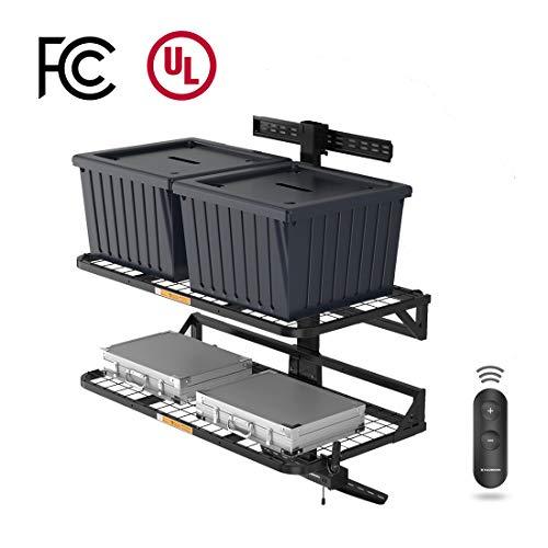 FLEXIMOUNTS HandyJack Motorized Lift Storage Wall Shelves Remote Control, Electric Height Adjustable Garage Storage Racks (Black)