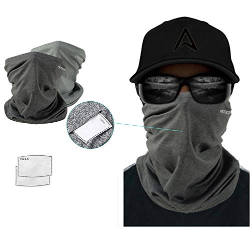 Bandana Face Mask Neck Gaiter Reusable 2pcs (5-Layers) Multi Use (12 in 1) Face Cover Anti Dust UV Protection Lightweight Breathable Universal Fit Unisex Outdoor Sports Scarves Grey