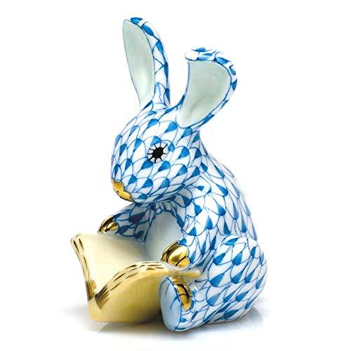 Herend Storybook Bunny Rabbit Porcelain Figurine Blue Fishnet
