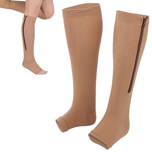 Medias de compresión con cremallera, 1 dedo del pie abierto para edema hinchado para medias de compresión durante el embarazo [S / M]