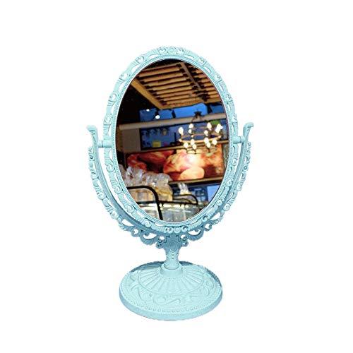 Benoon Espejo vanidad bancos de pie espejo cosmético funcional durable escritorio tipo antiguo vintage estilo europeo escritorio maquillaje espejo para maquillaje azul 1