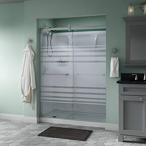 Delta Shower Doors SD3172688 Trinsic Semi-Frameless Contemporary Sliding Door 60in.x71in, Chrome Track