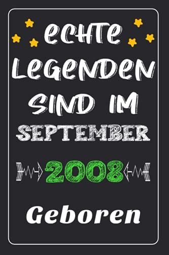 """Echte Legenden Sind Im M92 2008 Geboren: notizbuch geburtstag, Geschenk Junge Maedchen geburtstag 13 jahre, Geburtstagsgeschenk fuer Bruder Schwester Freunde, 13 geburtstag geschenke, 6""""×9"""" Zoll, 120 Seiten."""