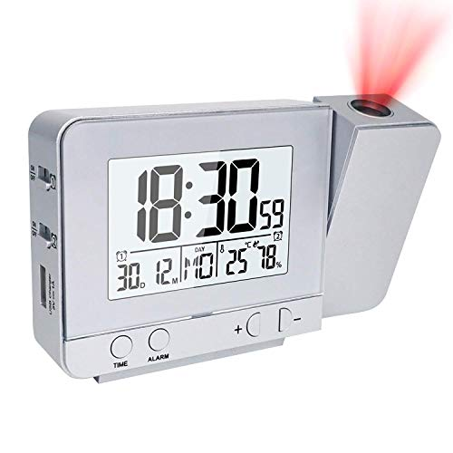 TTAototech Reloj Despertador Digital, Despertador Proyector con Puerto USB,Relojes de Alarma Electrónicos Alarma Dual con luz de Fondo, función de repetición, 12/24 Horas,Temperatura Interior,Humedad