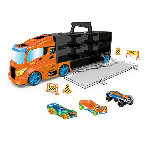 ODS- Transporter 40 Hot Wheels Camion Valigetta con Auto Originali Incluse, Colore Blu, 42033