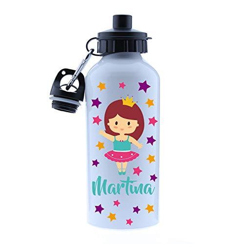 Kembilove – Cantimplora Infantil Personalizada – Botella de Aluminio Personalizada con el Nombre del Niño o Niña – Capacidad 500 ml peques – Cantimplora Bailarina