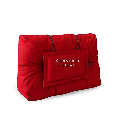 LILENO HOME Palettenkissen Set Rot - Rücken- / Seitenkissen 60x40x10/20 cm - Polster für Europaletten - Palettenkissen Outdoor als Sitzkissen für Palettenmöbel