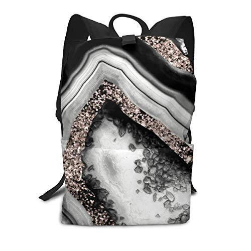 Mochila unisex, ágata de oro rosa con purpurina Glam Gem Decor Art College Student Bookbags de viaje para ordenador portátil diario escolar al aire libre bolsa de hombro