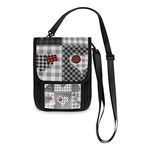 XiangHeFu Día de San Valentín Corazón Cuadros Patchwork Bolsa de teléfono Monedero Caja Moda Gran capacidad Titular de la tarjeta Monedero Monedero