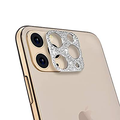 Camera Lens Protector for iPhone 11 Pro/iPhone 11 Pro Max, ICARERSPACE Bling Diamond Camera Lens Cover Sticker Protector - Silver