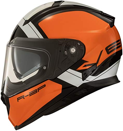 L , Orange Casque Moto Vemar Zephir Lunar Matt Orange Argent