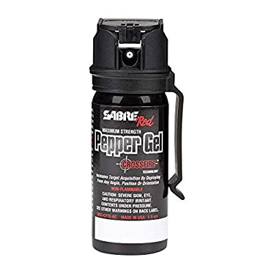 SABRE RED Crossfire Pepper Gel Spray with Clip 360 Degree Deployment, Maximum Police Strength Pepper Gel with Quick Access Flip Top, 18 foot (5.5 m) Range, 18 Bursts Gel is Safer