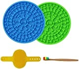 SCIJOY Lick Mat for Dogs, Dog Brush and Clean Brush, for Dogs Slow Feeder, Pet Bathing, Grooming, and Dog Training, with 37 Super Suction and Durable Silicone (2 Lick Mats with Brushes)