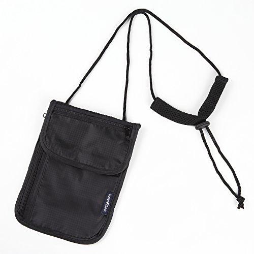 旅行用 ネックポーチ 貴重品 盗難防止 セキュリティポーチ トラベルミニ多機能ポーチ (ブラック)